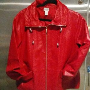 Chicos Red Leather Biker Jacket Final Reduction
